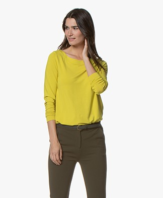 Kyra & Ko Inka Viscose Jersey Boatneck Long Sleeve - Lime