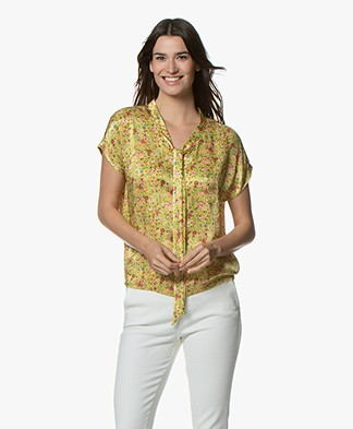 Kyra & Ko Fietje Satin Millefleurs Tie-neck Blouse Top - Lime