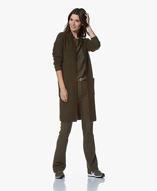 Kyra & Ko Rhode Long Open Rib Cardigan - Army
