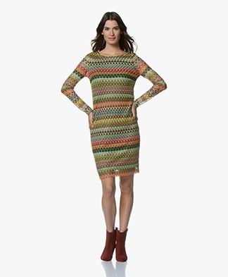 Kyra & Ko Maudi Multicolored Crochet Dress - Army