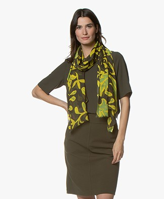Kyra & Ko Lenne Viscose Scarf with Leaf Print - Army