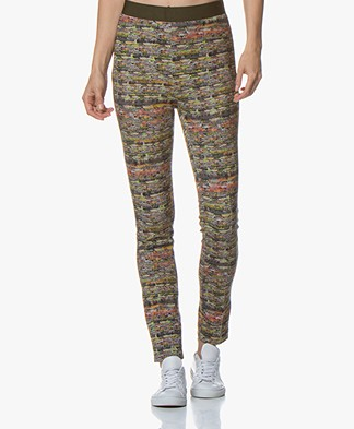 Kyra & Ko Merel Jersey Slim-fit Pants with Boucle Print - Army