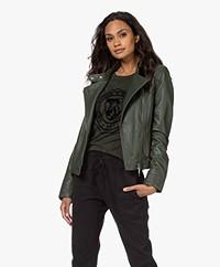 Repeat Leather Biker Jacket - Seaweed
