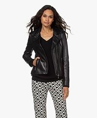 Repeat Leather Biker Jacket - Black