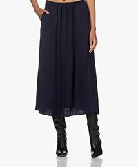 American Vintage Widland Crepe Satin Midi Skirt - Bleu Marine