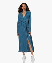 Denham Denise Cupro Blend Shirt Dress - Legion Blue