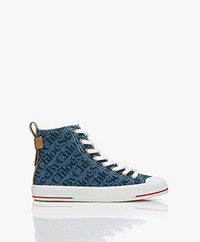 See by Chloé Avio High-Top Logo Sneakers - Blauw