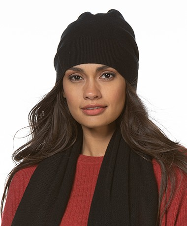 Repeat Luxury Cashmere Beanie - Black