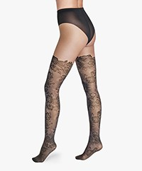 Wolford Tatum Floral Design Tights - Fairly Light/Black