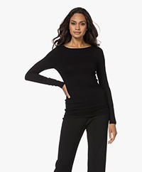 Majestic Filatures Soft Touch Boat Neck Long Sleeve - Black