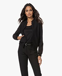 KYRA Lorijn Interlock Jersey Pinstripe Jacket - Black