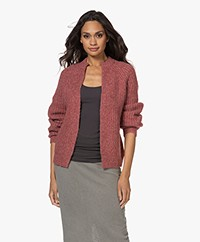 Josephine & Co Tijl Chunky Rib Knitted Open Cardigan - Red