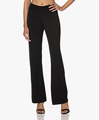 KYRA Clarisse Knitted Viscose Blend Pull-on Pants - Black
