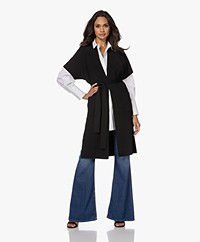KYRA Ginnie Knitted S/S Cardigan with Tie-belt - Black