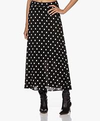 KYRA Tamara Long Dot Print A-line Skirt - Black