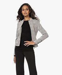 KYRA Jans Jacquard Jersey Cotton Blend Blazer Jacket - Almond