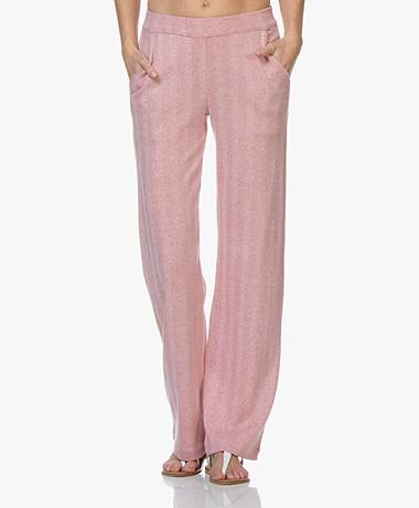 Majestic Filatures Herringbone Jersey Pants - Ecarlate/Milk