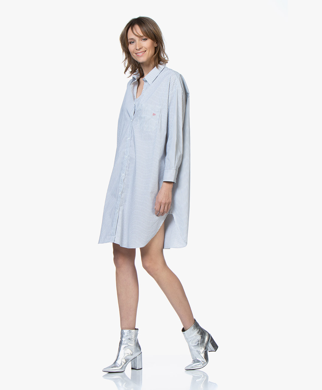 Zadig & Voltaire Resley Striped Oversized Shirt Dress - White/Blue/Grey -  resley rayee | shcc0401f bleu de gris