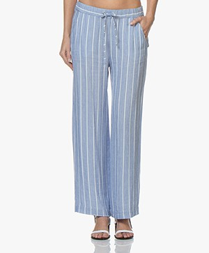 Josephine & Co Candace Striped Linen Blend Pants - Blue
