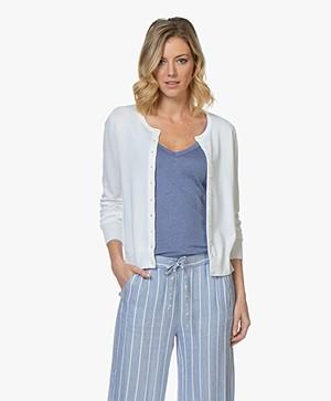 Repeat Classic Short Cotton Blend Cardigan - White