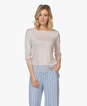 Majestic Filatures Linen Jersey T-Shirt with Lace - Rose Thé