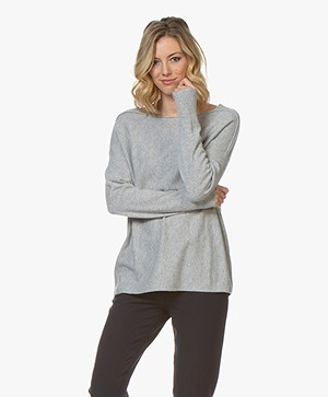 Repeat Cashmere Boat Neck Sweater - Grey Melange