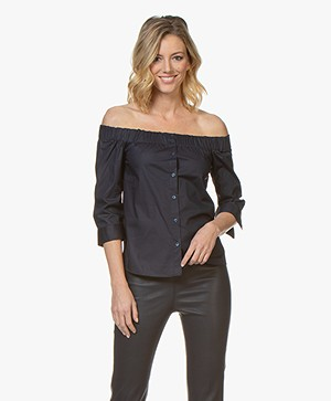 HUGO Emike Poplin Off-shoulder Blouse - Open Blue