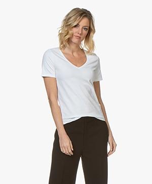 Repeat Stretch-Cotton V-neck T-shirt - White