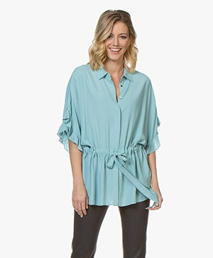 Repeat Viscose Blouse met Volant Mouwen - Ice Green