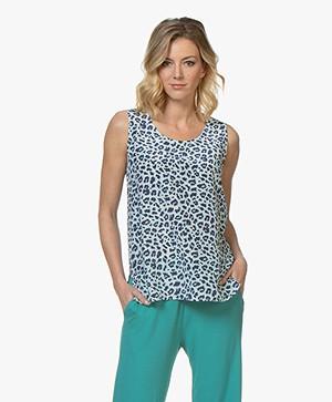 Repeat Sleeveless Leopard Print Top - Dark Blue