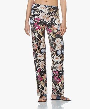 no man's land Viscose Jersey Pants with Print - Azure