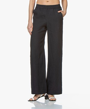 Majestic Filatures Linen Pants with Wide Legs - Marine