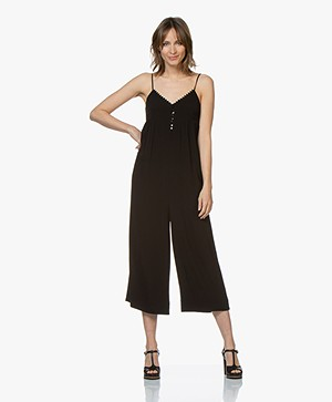 ba&sh Fever Mouwloze Cropped Jumpsuit - Zwart