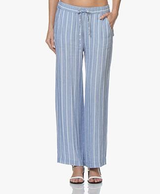 Josephine & Co Candace Striped Linen Blend Pants - Blue