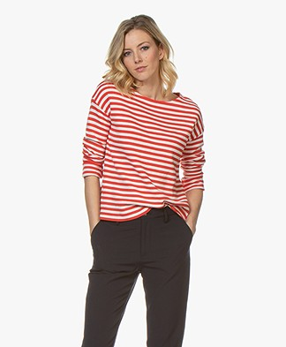 no man's land Striped Sweater - Ivory/Red