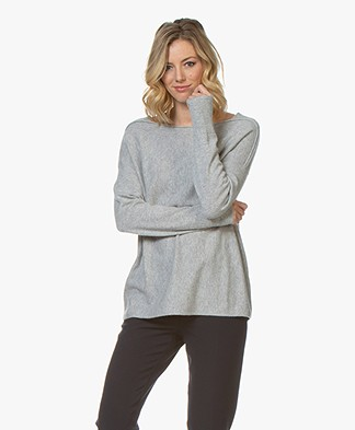 Repeat Cashmere Boat Neck Sweater - Grey Melange