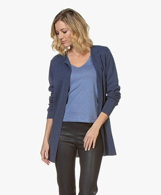 Sibin/Linnebjerg Vera Half Long Open Cardigan - Dark Denim