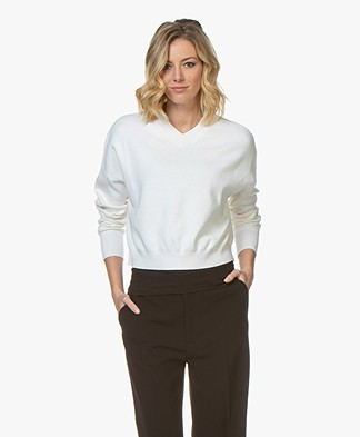 Filippa K Soft Sport Double Knit V-neck Sweater - Off-White
