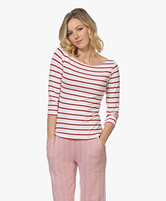 no man's land Striped Cropped Sleeve T-Shirt - Red
