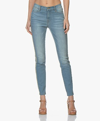 Repeat Stretch Jeans with Multi-color Piping - Light Blue