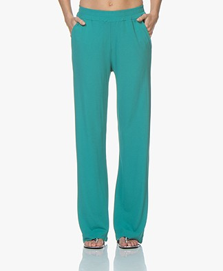 no man's land Crepe Jersey Pants - Persian Green