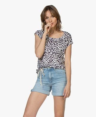 no man's land Linen T-Shirt with Leopard Print - Viola