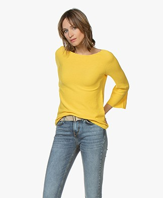 no man's land Sweater with Cropped Trumpet Sleeves - Buttercup