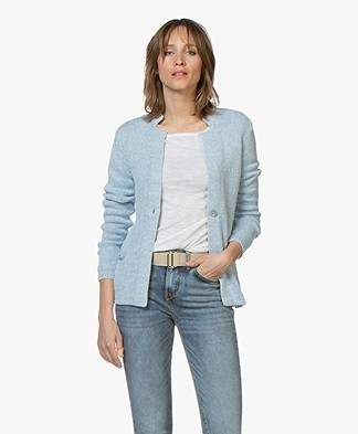 Belluna Pigalle Linen Blend Cardigan - Light Blue