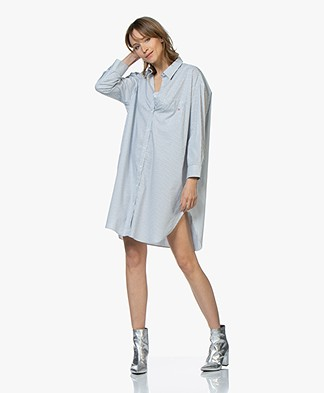 Zadig & Voltaire Resley Striped Oversized Shirt Dress - White/Blue/Grey
