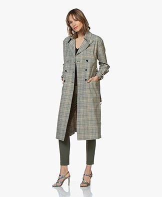 ba&sh Isor Checked Trench Coat - Fougeres