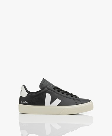 VEJA Campo Low Logo Leather Sneakers - Black/White