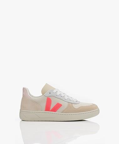 VEJA V-10 Suède Sneakers - Natural/Rose-fluo