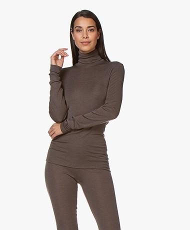 HANRO Wool-silk Blend Turtleneck T-shirt - Elephant Grey