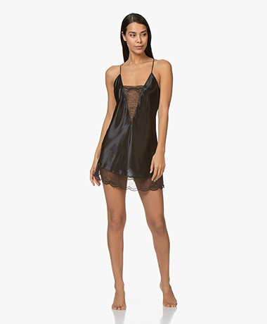 Calvin Klein Silk Chemise with Lace Details - Black